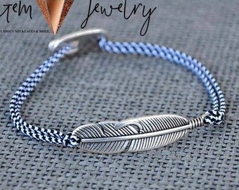 Onyx Bracelet,Feather Bracelet, Mens Bracelet, Gift for Him,Mens Jewelry