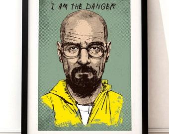 Breaking Bad inspired print, TV art, Breaking Bad art, Breaking Bad, Breaking Bad poster, Walter White, Breaking Bad portrait print