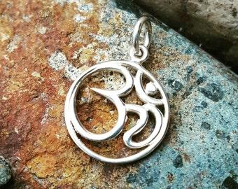 Silver Om Charm - Om Necklace - Yoga Jewelry - Optional Custom Length Silver Chain - Aum - Ohm