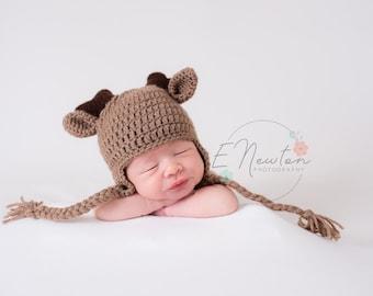 Deer Hat / Baby Winter Hat / Crochet Deer Hat with Antlers / Infant Photo Prop / Halloween Costume /  Made to Order