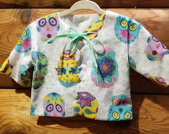 Infant - Sacque - Kimono - Newborn Size - 100% Cotton - Dia de los Muertos - Sugar Skulls - Day of the Dead - Ready to Ship