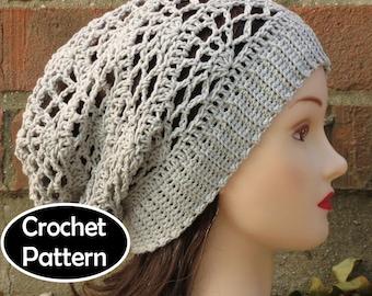 Crochet hats etsy crochet hat pattern instant download arachne slouchy beanie hat lacy teen women fall winter dt1010fo