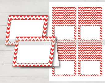 Printable Place cards, red place cards, Food Tent Cards, red chevron, tent cards, place cards template, food tent, blank place card BS03