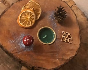 Christmas rustic wooden Candle holder; made from reclaimed wood