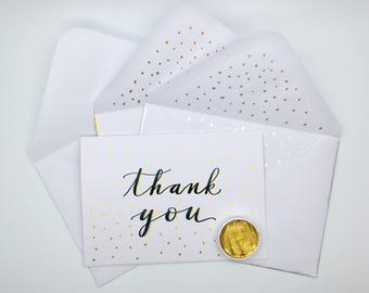 Thank you card, hand lettered card, gold details card, card and envelope set, thanks card, wedding thank you card, blank thank you card