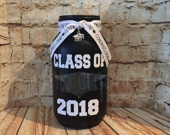Class Of 2018 Painted Mason Jar Tea Light Candle Holder, painted mason jar, graduate, graduation gift class 2018, graduation decoration