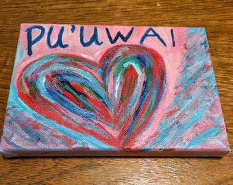 Pu'uwai (Heart) Original Painting on Gallery Wrapped Canvas Wall Art from Honolulu Hawaii