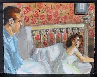 The Morning After, watercolor and crayon on 11x14 inch cotton paper by Kenney Mencher