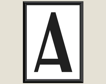 Typography DIGITAL PRINT Monogram Initial Wall Art Boogie Nights Letter A 5x7