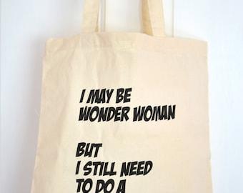 Tote Bag - Wonder Woman / sac à provisions réutilisable en coton / typographie / sac d'épaule
