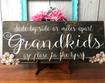 Gift for Grandparent, Custom Photo Display Board, Wood Picture Collage, Rustic Sign, Birthday Gift For Grandma, Long distance Grandkids Sign