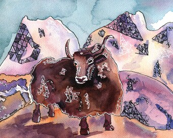 Yak!- Watercolor and ink original painting- Animal illustration- by Rachel Devenish Ford