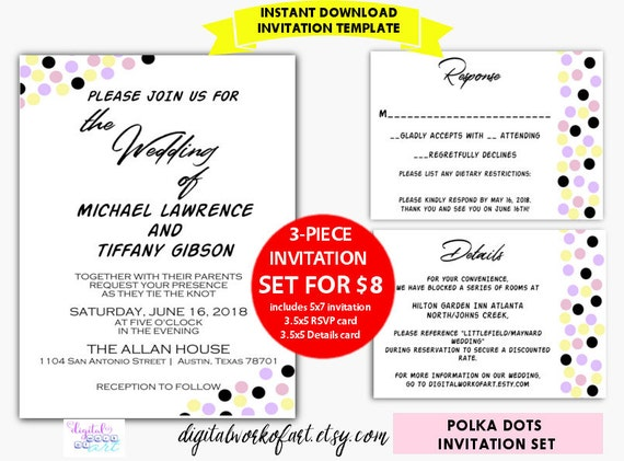 diy polka dots wedding invitation template editable pdf cheap