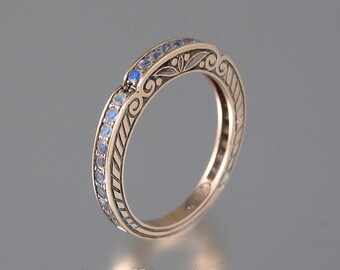 CARYATID 14k rose gold wedding band with Rainbow Moonstones