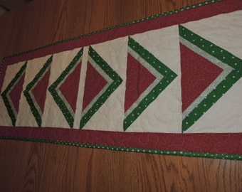 "Just Reduced!! Quilted Watermelon Runner in Red, Kelly Green and White    16"" by 44"""