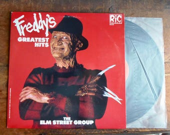 Freddy's Greatest Hits, Vintage vinyl 1987, Freddy Kreuger record, printed in Canada, Ric Records, 1980's music, horror movie gift