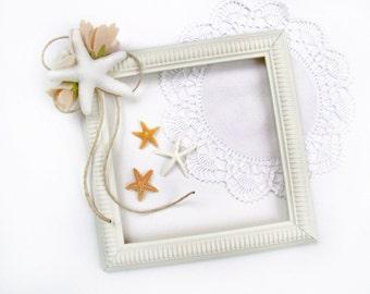 Wedding Sign Frame, White Starfish, Chalkboard Frame, Beach Wedding, Decorative Starfish Wedding Prop, Blush Peach Felt Flower Decoration