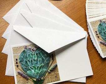 Lambsear Heart 20 Mini Note Cards with envelope, Lambsear Heart Mandala design