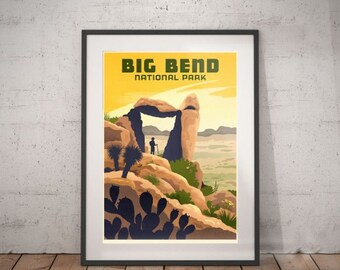 big bend, big bend national park, big bend poster, wall decor, vintage