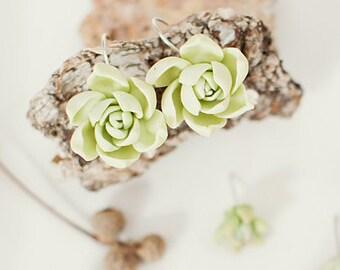 succulents earrings green earrings jewelry succulent lovers gift