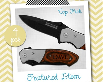 Groomsmen Gifts 4 PERSONALIZED Knives Engraved Knife Custom Knife Engraved Pocket Wood Knife Hunting Knife Groomsman Gifts Gift for Men
