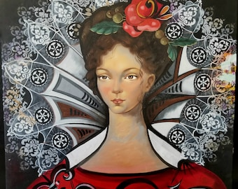Lady in Red - Surrealism Renaissance - Original Oil Painting 24''x24'' by Elina Arrom
