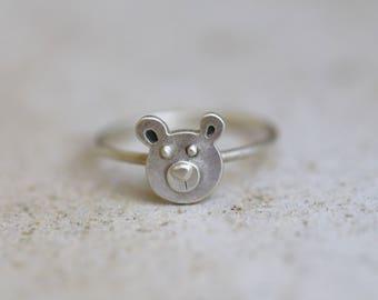 Silver bear ring, animal ring, bear jewelry, teddy bear ring, stacking ring, stackable ring, teddy ring, tiny bear ring