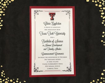 College Graduation Invitation Texas Tech College Graduation Announcement Graduation Invitations Layered Announcements Qty. 25