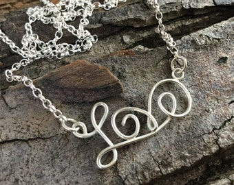 Love, sterling silver, love necklace, gift for her, teenage girl gift, wire writing, pretty love necklace, love you
