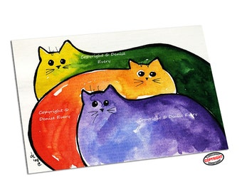 Abstract Cat Art Print Rainbow Meatloaf Kitties Fun Cat Art Whimsical Cat ACEO Art Cat Lover Cat Gift Cat ACEO Print Denise Every