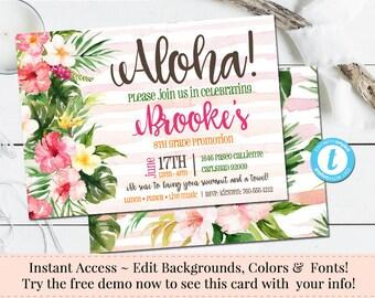 Tropical Invitation, Luau Invitation, Aloha Template, BBQ Invitation, Printable DIY, Instant Download, Birthday Invite, Templett Invitation