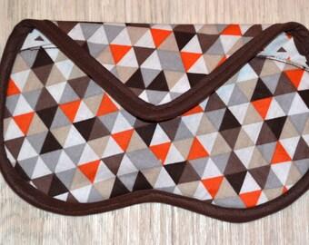 Orange brown triangle eyeglass or Sunglass case