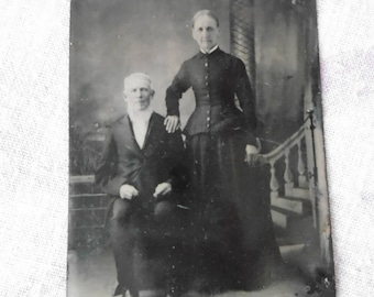 Vintage Antique Tintype Photo, Elderly Couple, 1800's