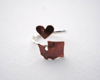 Washington State Twist Ring (Sterling Silver & Copper Place State Love Map Ring)