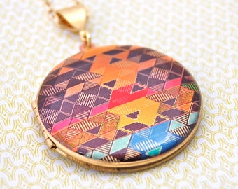 Vintage Locket Geometric Pattern Necklace Vintage Jewelry Alyson Fox Designs Triangle Lockets Photograph Custom Jewelry Personalize Portland