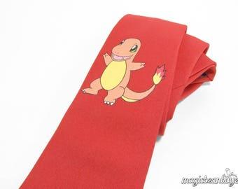 Hand-Painted Charmander Pokemon Necktie