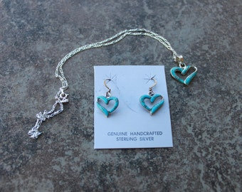 Turquoise and Sterling Silver Heart Necklace and Earrings