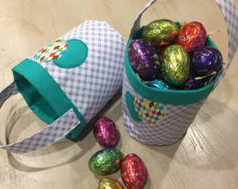 Easter Egg Hunt Baskets, Blue and Teal Circular Quality Hand Made