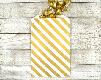 Party or wedding favor bags, set of 20, white kraft paper bags with gold diagonal stripe, candy buffet bags, goodie bags, Middy Bitty bags