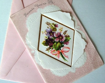 SALE * Vintage Get Well Card with Envelope Pink with Unique Cut-Out Design, Sparkly Glitter and Violets