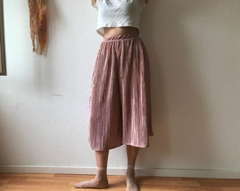 Powder Pink Metallic Crimped Culottes | Skort | Limited Stock | Made to Order | Handmade | With Pockets | Slow Fashion
