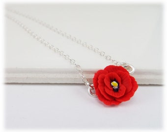 Tiny Poppy Necklace - August Birthday Necklace, Poppy Jewelry Silver Gold or Antique Brass