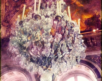 Chandelier Wall Art,  Pink Chandelier Large Print, Chandelier Photography, Pink Chandelier, Versailles, Hall of Mirrors, Pink Wall Art