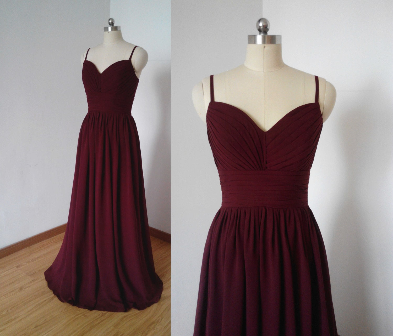 Spaghetti straps burgundy chiffon long bridesmaid dress zoom ombrellifo Images