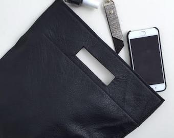 Black leather handbag,Black crossbody leather bag,Evening bag for women,Black clutch bag