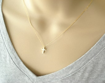 Tiny gold cross necklace...everyday simple minimalist, bridal jewelry, wedding, bridesmaid gift