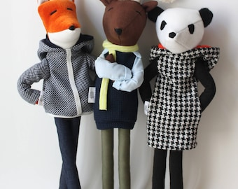 Custom stuffed animal, fox, bear, panda, panther, deer cloth dolls, cool softies, ooak soft toys, modern kids nursery decor gift Aniumans