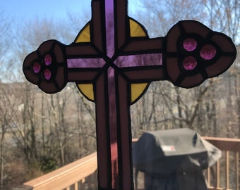 purple cross stained glass (made to order)