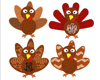 Patterned Monogram Turkey SVG,EPS Png DXF, Cricut Design Space, Silhouette Studio, Layered Digital Cut Files, Print Then Cut png