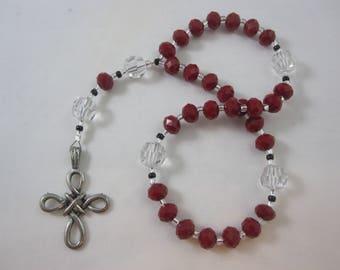 Red Velvet and Egyptian Crystal Prayer Beads